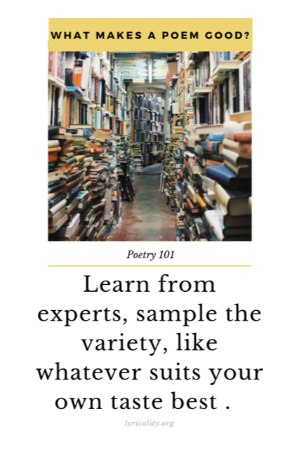 "Image of books with the words ""What makes a poem good? Poetry 101: Learn from experts, sample the variety, like wahtever suits your own taste best."