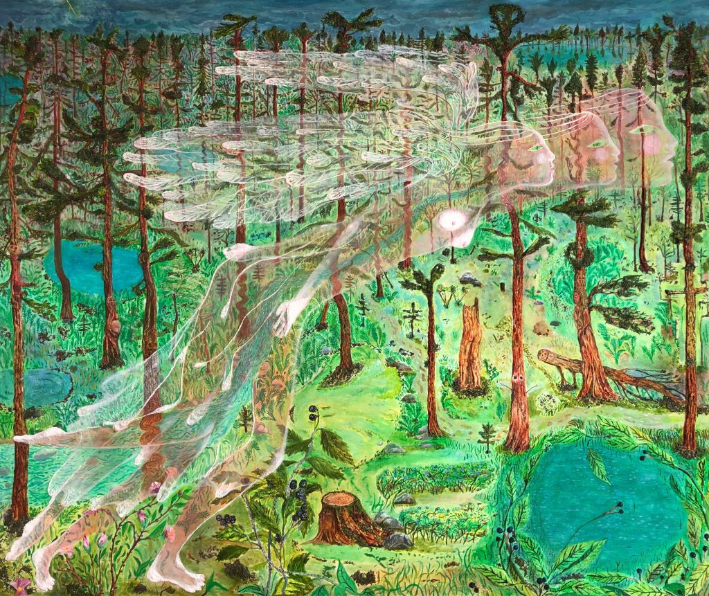Painting by Sophia Heymans of a white, winged female spirit superimposed over pines, vernal pools and tree trunks. Primarily green and blue-green tones, with brown trunks.